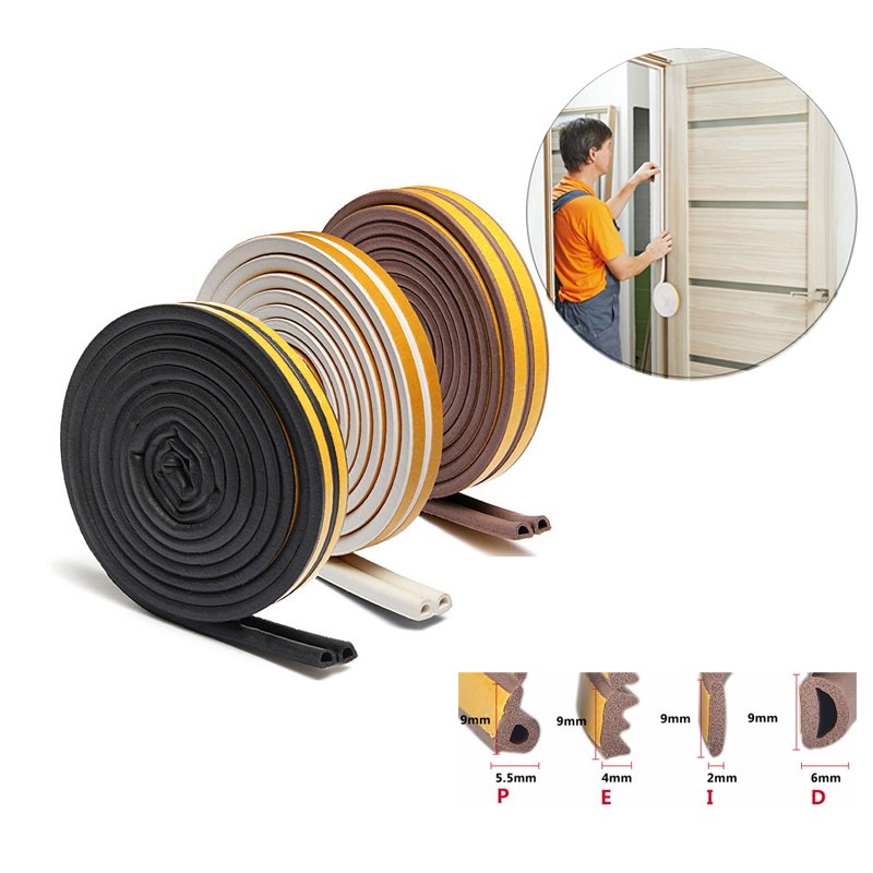 10meters Doors Windows Seal Strip Self Adhesive Foam Foam StickerSoundproofing Collision Avoidance Rubber Seal Strip DPEI Type
