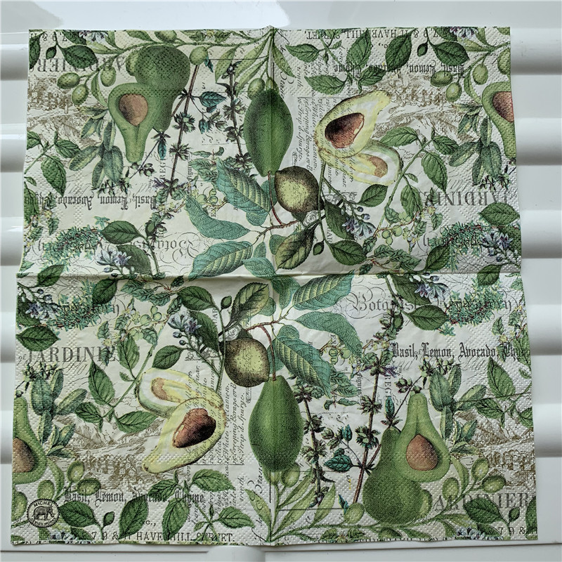 Image 5 - 25cm decoupage paper napkin wedding tissue elegant flower butterfly fruit Mango pear wine handkerchief birthday party serviettes-in Disposable Party Tableware from Home & Garden