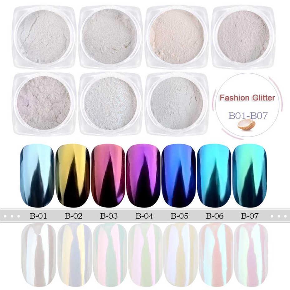 Sirène poudre Nail Art paillettes miroitant miroir Pigment Aurora perle poussière Dip Chrome ongles manucure bricolage ensemble décoration TRB01-07-1