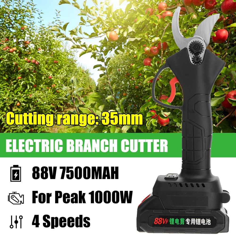 4-Speed 88V 35mm Cordless Electric Pruning Shear Scissors Bonsai Pruning Branches Cutter Orchard Garden Tools for Makita Battery