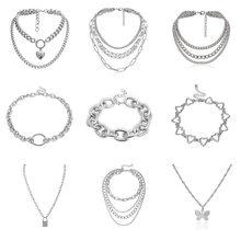 Collier gothique style Punk-Hip-hop en métal exagéré, collier pendentif d'amour, couleur argent pour femmes, accessoires de bijouterie