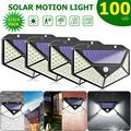 100 LED четырехсторонний Солнечный свет 3 режима 120 градусов датчик движения угол настенный светильник водонепроницаемый наружный двор садовы...