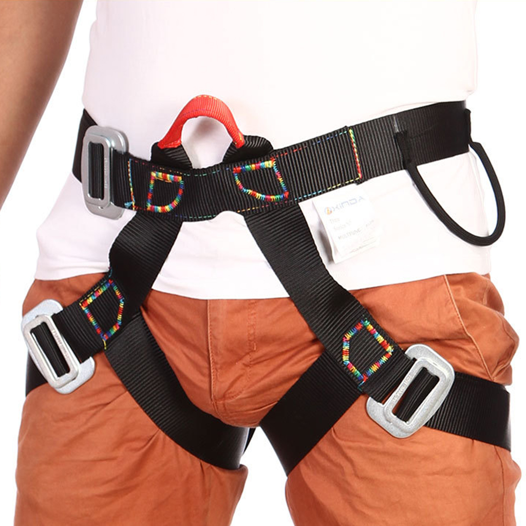 Half Body Outdoor Rappelling Climbing Harness Seat Safety Sitting Bust Belt Black Camping Hiking Rappelling Accessories