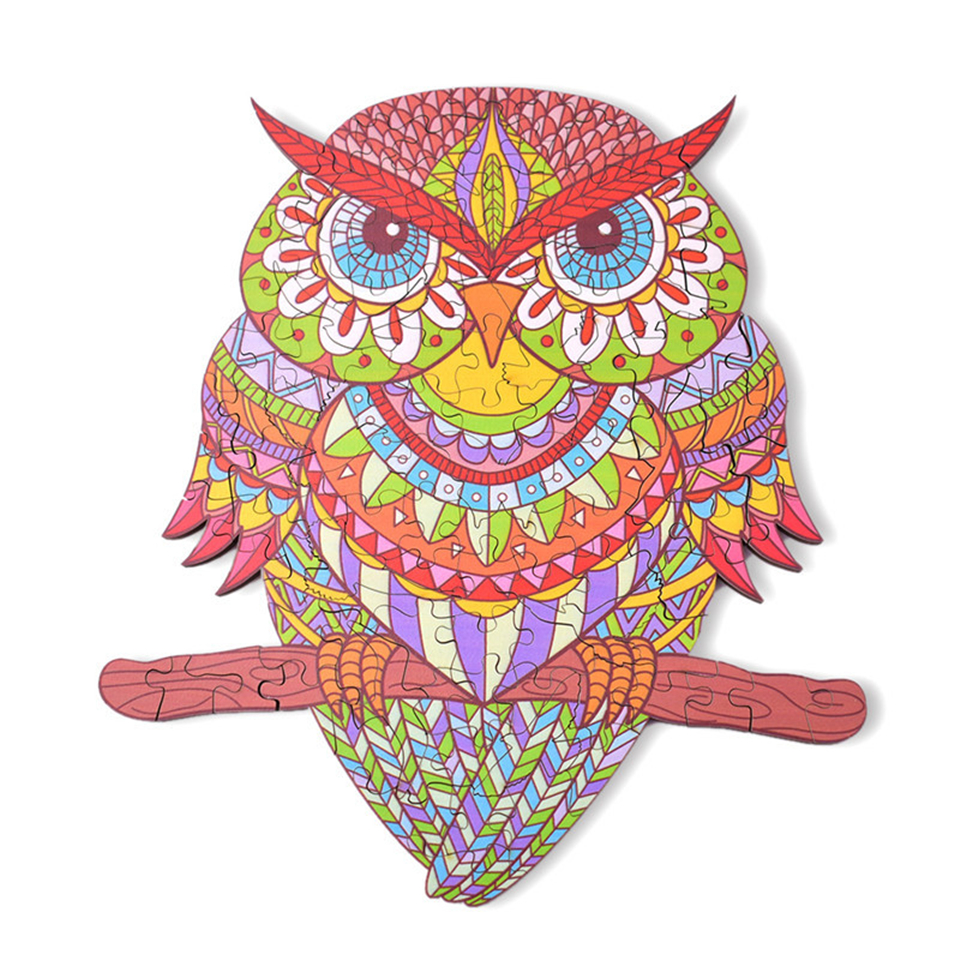 2021Basswood Owl Jigsaw Puzzle 성인을위한 특별한 모양의 나무 박스형 퍼즐 Kids Educational Birthday Toys Gifts