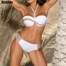 Riseado Push Up Bikini Set Halter Swimwear Women 2021 Swimsuits Lace-up biquini White Bandage Beach Wear Solid Patchwork Bikinis