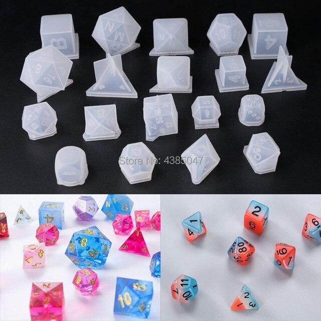 Séries de dés 3D avec miroir haut, outils de fabrication de bijoux, outils pour joueur de chiffres, moules à bijoux en Silicone UV, 19 pièces/lot