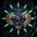 Curren 8363  мужские водонепроницаемые часы с хронографом  военные армейские мужские часы из нержавеющей стали  роскошные Брендовые мужские спо...