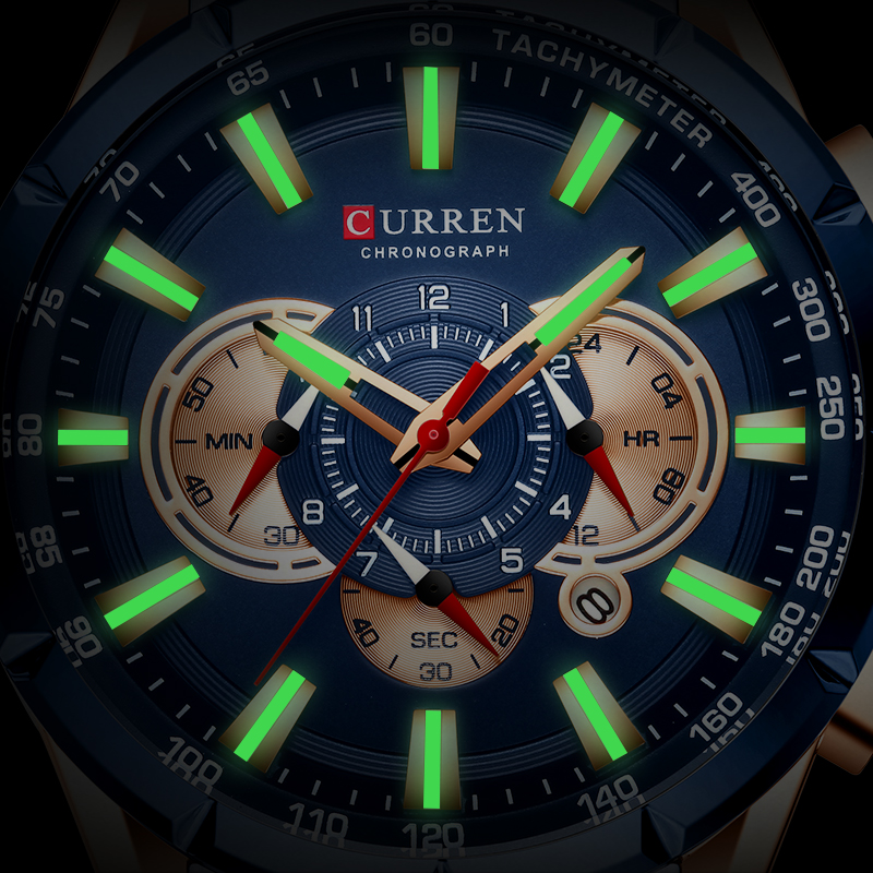 Curren 8363 Watch Men Waterproof Chronograph Watches Military Army Stainless Steel Male Clock Top Brand Luxury Man Sport Watches
