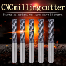ZGT Milling Tools Metal Cutter Endmill HRC55 4 Flute Alloy Carbide Tungsten Steel End Mill 1mm 2mm 3mm 4mm 6mm