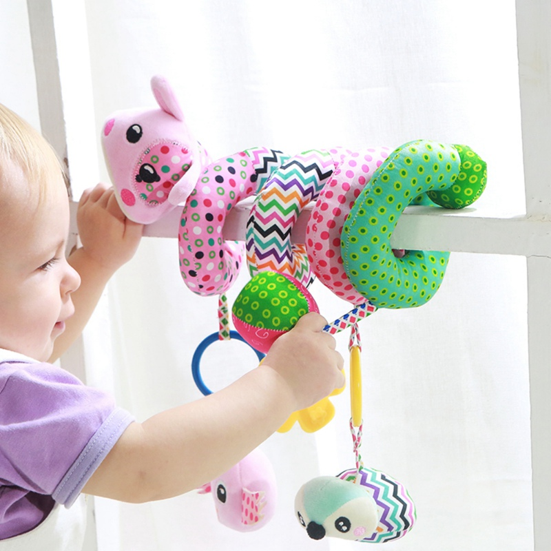 Baby Stroller Toys  Arch Rattles Hanging Cute Plush Animals Style Bed Around For Baby Education Toy Spiral Wrap Around Bed