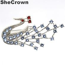 58x33mm Hot Sell Peacock Created Rich Blue Violet Tanzanite Ruby CZ Gift Silver Brooch