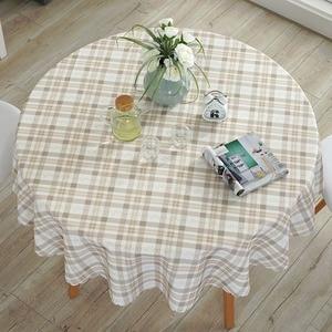 Image 1 - 牧歌的な防水ラウンド花/チェック柄プリントレースエッジポリエステルテーブルは抗ホットコーヒーテーブルクロス耐油