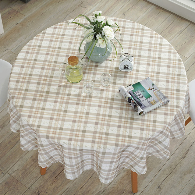 牧歌的な防水ラウンド花/チェック柄プリントレースエッジポリエステルテーブルは抗ホットコーヒーテーブルクロス耐油