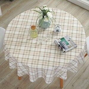 Image 1 - Mantel de mesa redondo Pastoral impermeable Floral/dibujo de cuadros borde de encaje fundas de mesa de poliéster contra el calor manteles de café a prueba de aceite