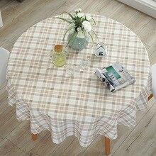 Nappe de Table ronde imperméable Pastoral, couverture de Table en Polyester, motif Floral/plaid, bord en dentelle imprimée, nappe basse chaude, résistante à lhuile