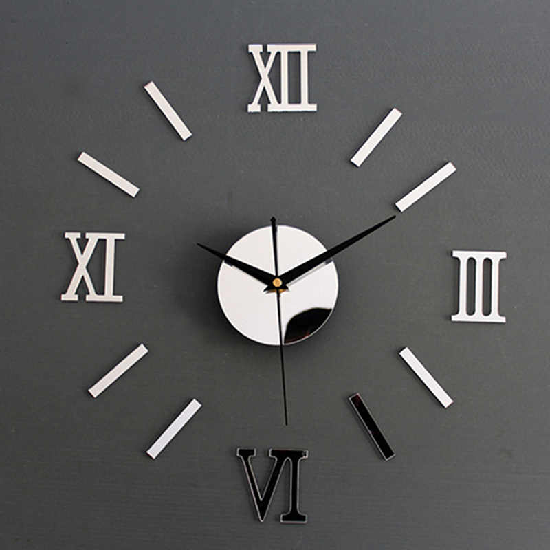 1Piece New Clock Watch Wall Clocks Horloge 3d Diy Acrylic Mirror Stickers Home Decoration Living Room Quartz Needle