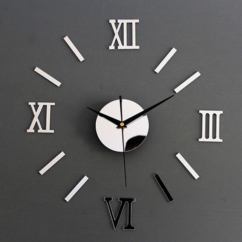 1Piece New Clock Watch Wall Clocks Horloge 3d Diy Acrylic Mirror Stickers Home Decoration Living Room Quartz Needle