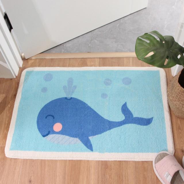 Cartoon Blue whale Shaggy Doormat Anti skid Latex Bottom  Machine Wash Bathroom Kitchen Rug Carpet Indoor Entrance Floor Mat