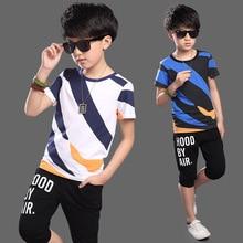 цена Boys Clothes Kids Clothes Children Boys Clothing T-Shirt+Pants 2 Piece Set 5-15 Years Old Toddler Boy Costume Kids Clothing онлайн в 2017 году