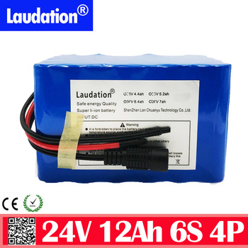 New High capacity bms 24v bateria 24v 12 ah 6s 4p li ion battery 12000 mah 18650 pack for electric bicycle ebike motor laudation