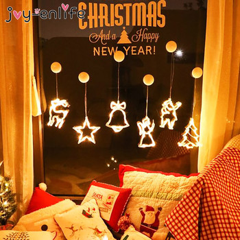 Led Christmas tree Elk Bell light Christmas Decoration For Home Window sucker lights Hanging Ornament Navidad Xmas Gift New Year christmas xmas elk display window new year ornament simulation deer decorations reindeer simulated toy kids gift