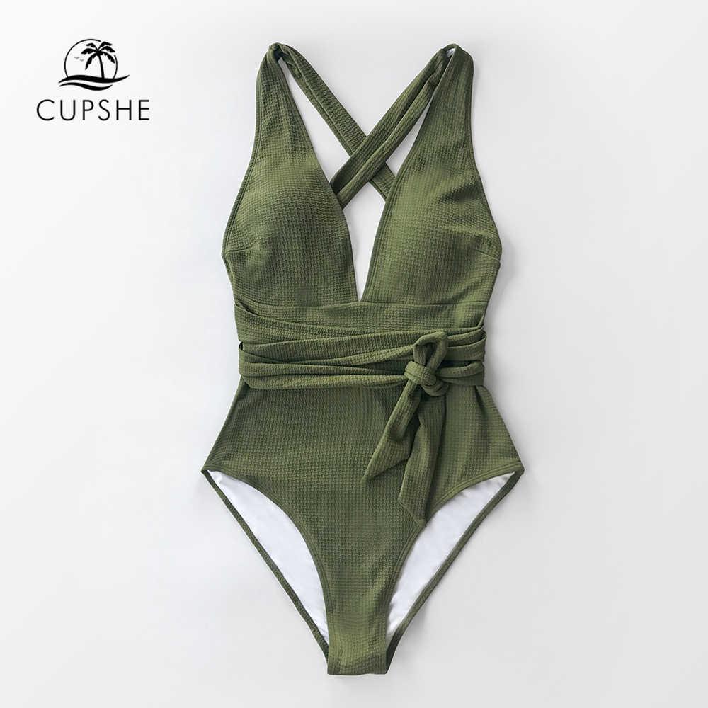 CUPSHE, оливковый, текстурированный, слитный купальник, женский, сексуальный, v-образный вырез, на завязке с открытой спиной, монокини, 2019, для девушек, пляжный купальник, купальник