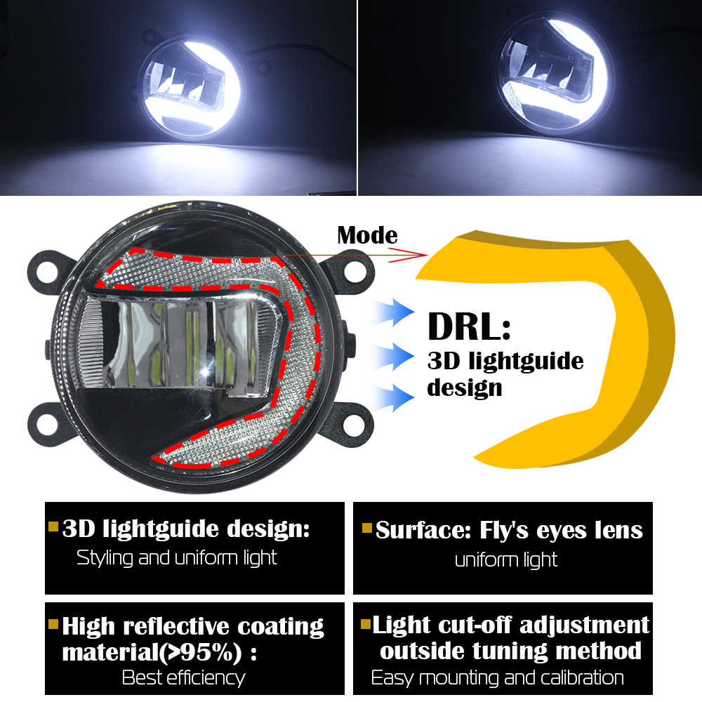 Cawanerl Peugeot 207 2006-2012 için araba LED sis lambası gündüz çalışan lamba DRL 12V beyaz stil yüksek parlak 2 adet