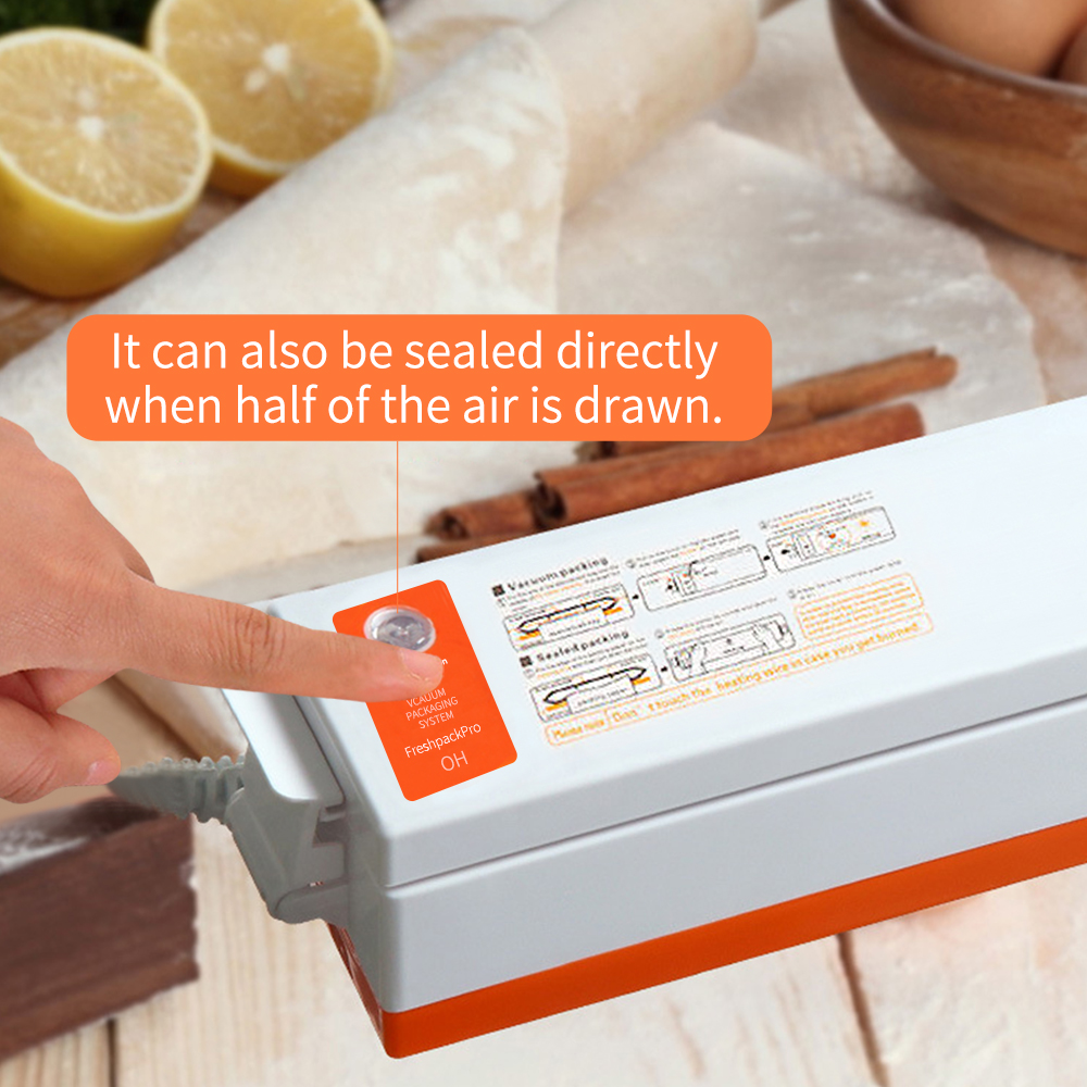 FUNHO 110V 220V Electric Vacuum Food Sealer Machine with Intelligent IC Chip and One Button Operation to Keep Food Fresh 5