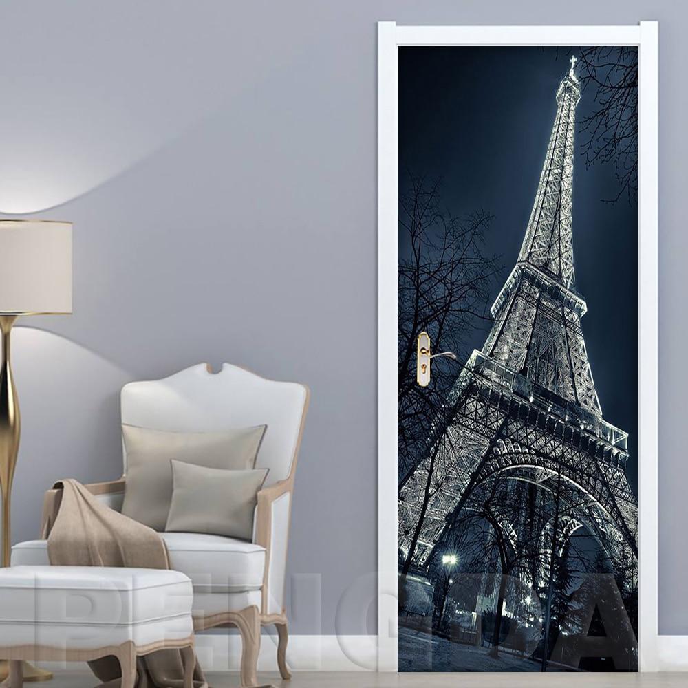 Self Adhesive 3D Papers 2 Pcs Renovation Paris Tower Scenery DIY PVC Stickers Door Waterproof Home Decor Decal Print Art Picture