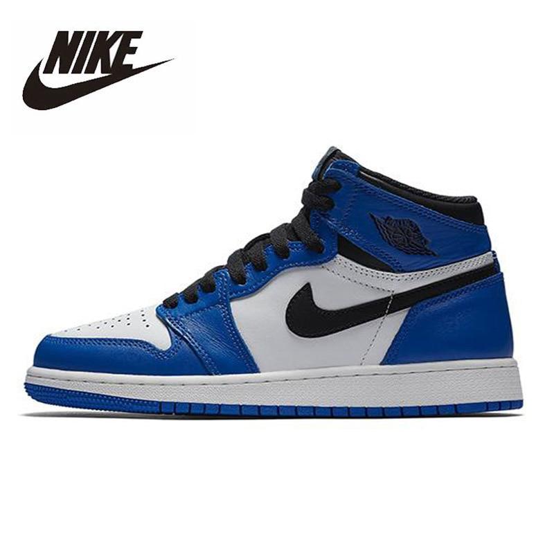 Original Nike Air Jordan 1 Retro High Game Royal GS Men's Basketball Shoes Women High-top Sports Outdoor Sneakers 575441-403