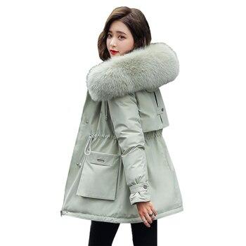 Parka à capuche pour femmes, doublure en velours pour femmes, vêtements d'extérieur Slim avec col en fourrure, veste d'automne-hiver, manteau 1