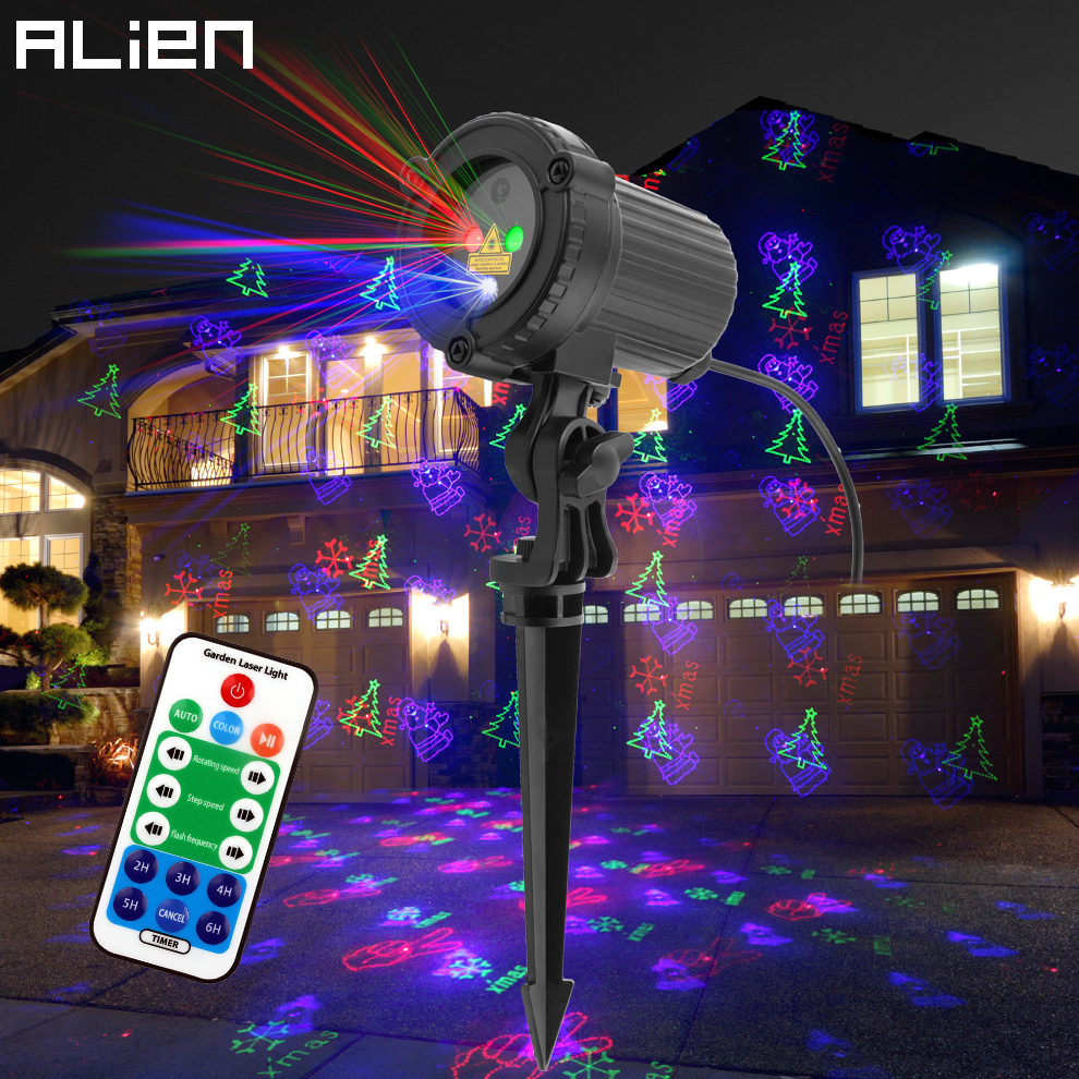 ALIEN Outdoor RGB 12 Christmas Theme Patterns Laser Projector Lights Waterproof Garden Outdoor Xmas Tree Holiday Party Lighting