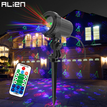 ALIEN Outdoor RGB 12 Christmas Theme Patterns Laser Projector Lights Waterproof Garden Outdoor Xmas Tree Holiday