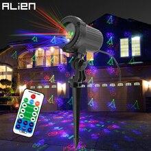 ALIEN กลางแจ้ง RGB 12 รูปแบบธีมคริสต์มาสเลเซอร์โปรเจคเตอร์ไฟกันน้ำสวนกลางแจ้ง Xmas Tree Holiday Party Lighting