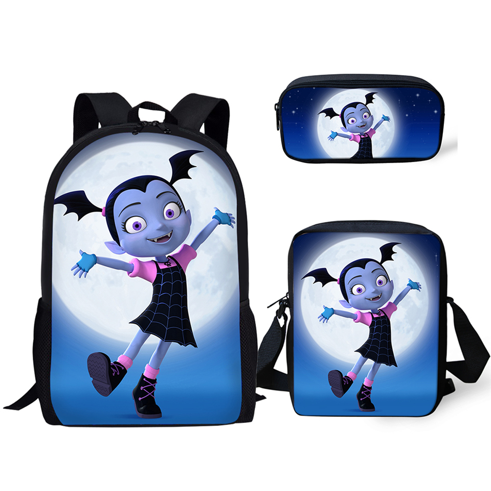 HaoYun Children's School Backpack Vampirina Print Pattern School Book Bags Cartoon Arts Girl Design 3PCs Set Students Bags