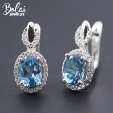Bolai Oval London blue topaz stud earrings real 925 sterling silver created gemstone fine jewelry for women wedding 2019 new