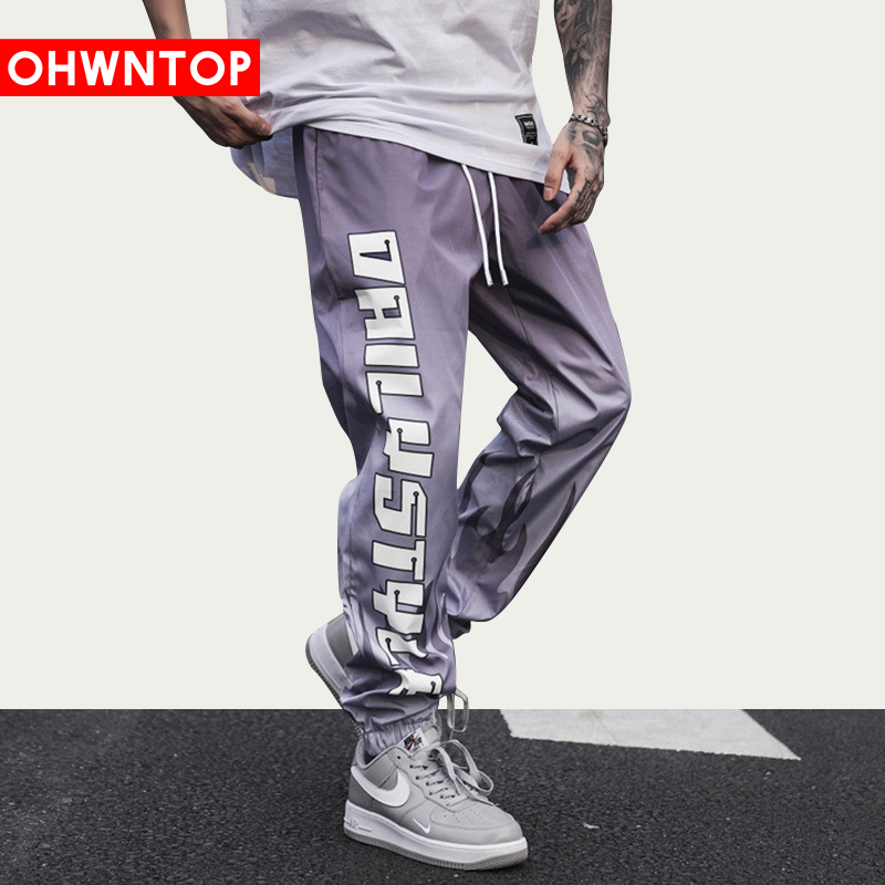 Fashion Letter Flame Gradient Joggers Track Pants Men Streetwear Harajuku Loose Pants Drawstring Oversize Trousers Sweatpants