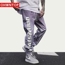 Fashion Letter Flame Gradient Joggers Track Pants Men Streetwear Harajuku Loose Pants Drawstring Oversize Trousers Sweatpants