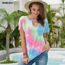 T-shirt Women Summer Tops Tie Dye Printed V-Neck Casual Ladies