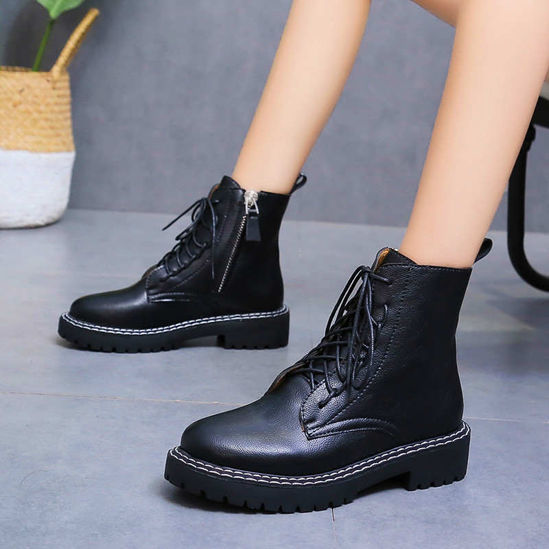 Martin Boots Women's Shoes Increased Breathable Black Boots Female Soft Casual Leather Shoes Non-slip Wear-resistant Outsole