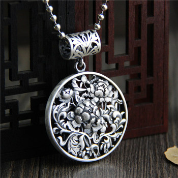 Fine Sterling S990 Silver Pendant Women Hollow Perfect Flower Round Pendant 36.5x53mm 20.6g