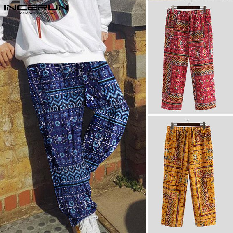 INCERUN Men Pants Cotton Ethnic Style Print Drawstring Vintage Loose Wide Leg Trousers Men Joggers Casual Streetwear Pantalones