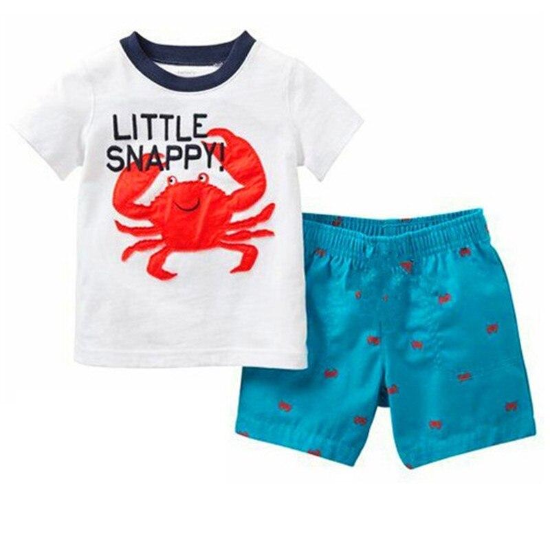 TUONXYE Children's Cute Crab Design Nightwear Boys Short Sleeve Pajamas Set Kids Pijama for Summer Home Wear Clothing 2