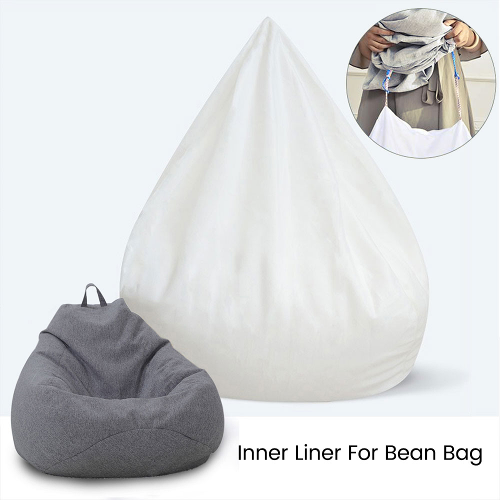 Waterproof Lazy Bean Bag Sofa Cover Inner Lining Suitable for Bean Bag Cover Stuffed Animal Toy Only Inner Case Cover White S/L 1