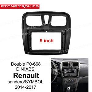 Image 1 - إطار DVD للسيارة 1 2din ، محول تركيب الصوت ، لوحة لوحة القيادة ، 9 بوصة لرينو سانديرو/رمز 2014 17 ، مشغل راديو