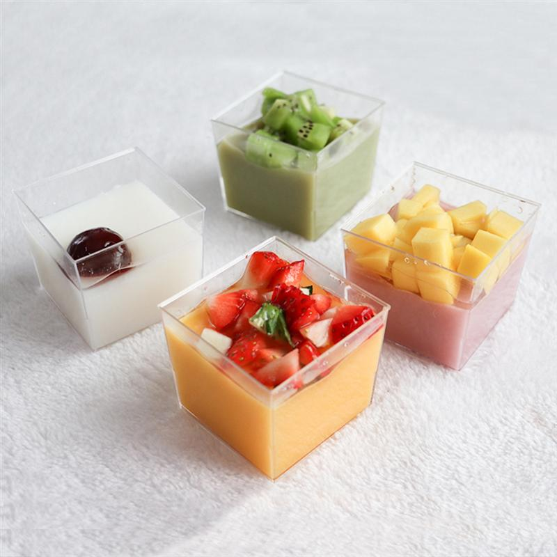10PCS 150ML Mousse Cup Hard Plastic For Cake Dessert Cube Appetizer Square Bowl Disposable PS Souffle Jelly Container Banquet