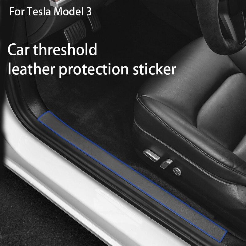 4psc/1Set Leather Car Door Threshold Stickers For Tesla Model 3 2017-2021 Door Sills Protector Decals Accessories