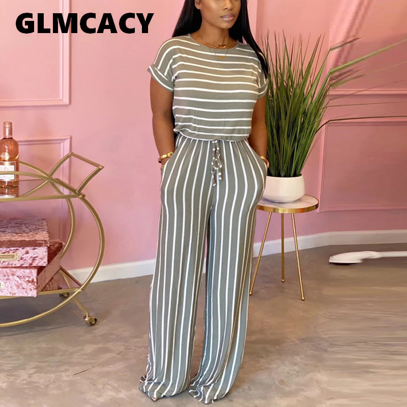 Women Causal Striped Short Sleeve Jumpsuit Plus Size Loose Fit Summer Long Pants Daily Overalls Comfy Jumpsuit