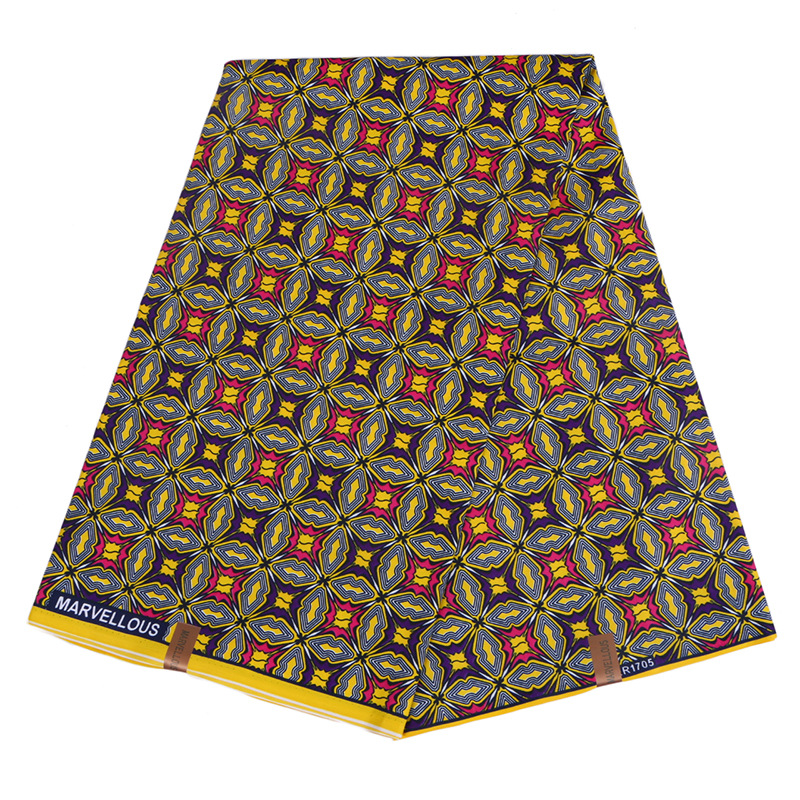 2019 New African Dutch Wax Fabric Yellow 100% Polyester Red&Purple Printed African Ankara Wax Printed Fabric