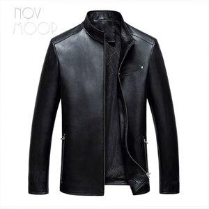 Image 4 - Vestes daffaires en cuir homme, 4 couleurs, manteau en peau de mouton véritable, chaqueta moto hombre LT047